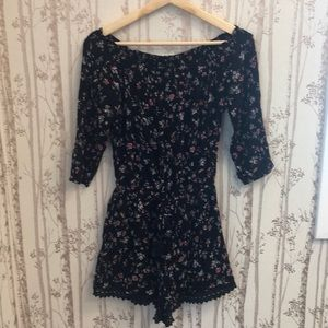 Abercrombie & Fitch Black Floral Romper